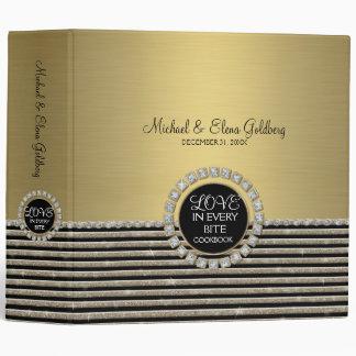 Art Deco Modern Horizontal Stripe Glitter Look 3 Ring Binder