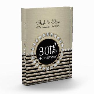 Art Deco Modern Horizontal Stripe Glitter Look Acrylic Award