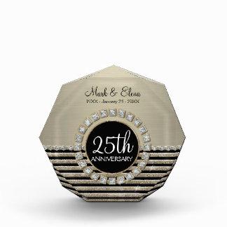 Art Deco Modern Horizontal Stripe Glitter Look Award