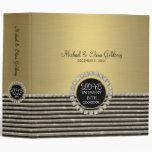 Art Deco Modern Horizontal Stripe Glitter Look Vinyl Binder