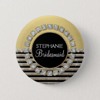 Art Deco Modern Horizontal Stripe Glitter Look Button
