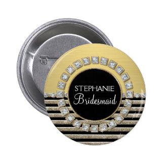 Art Deco Modern Horizontal Stripe Glitter Look Button