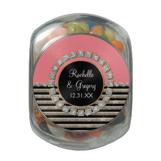 Art Deco Modern Horizontal Stripe Glitter Look Glass Jars