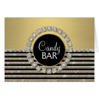 Art Deco Modern Horizontal Stripe Glitter Look Card