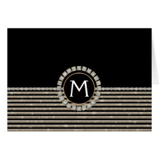 Art Deco Modern Horizontal Stripe Glitter Look Greeting Card
