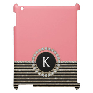 Art Deco Modern Horizontal Stripe Glitter Look Case For The iPad 2 3 4