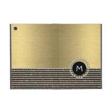 Art Deco Modern Horizontal Stripe Glitter Look Cover For iPad Mini
