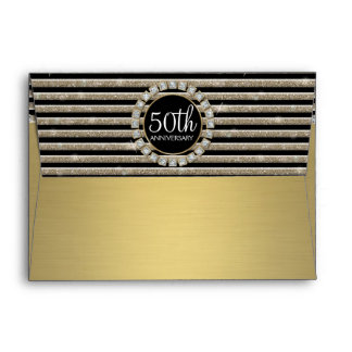 Art Deco Modern Horizontal Stripe Glitter Look Envelope