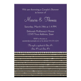 Art Deco Modern Horizontal Stripe Glitter Look Custom Invites