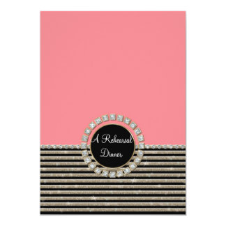 "Art Deco Modern Horizontal Stripe Glitter Look 5"" X 7"" Invitation Card"