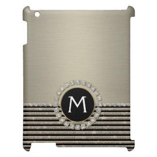 Art Deco Modern Horizontal Stripe Glitter Look iPad Covers