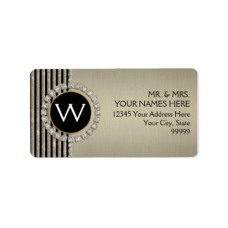 Art Deco Modern Horizontal Stripe Glitter Look Label