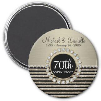Art Deco Modern Horizontal Stripe Glitter Look Fridge Magnet