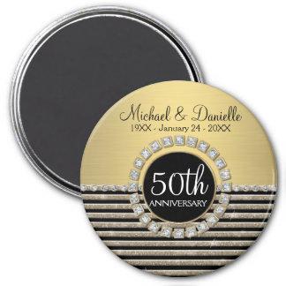 Art Deco Modern Horizontal Stripe Glitter Look Magnet
