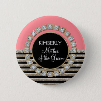 Art Deco Modern Horizontal Stripe Glitter Look Pinback Button