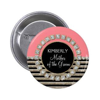 Art Deco Modern Horizontal Stripe Glitter Look Pinback Button