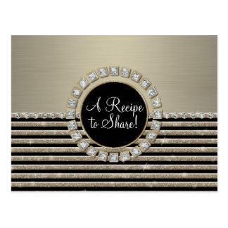 Art Deco Modern Horizontal Stripe Glitter Look Postcard