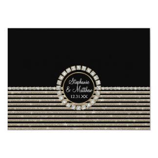 "Art Deco Modern Horizontal Striped Wedding Set 5"" X 7"" Invitation Card"