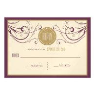 Art Deco Modern Wedding Reply Card