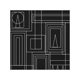 Art Deco Monochrome Print Wrapped Canvas