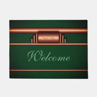 Art deco monogram, deluxe brass, Killarney green Doormat