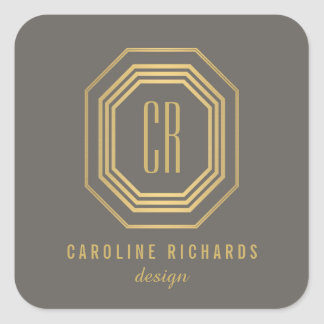 Art Deco Monogram Gold/Gray Personalized Stickers
