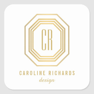 Art Deco Monogram Gold/White Personalized Stickers