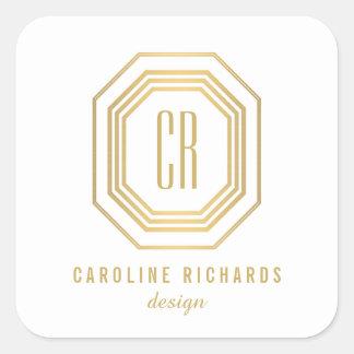 Art Deco Monogram Gold/White Personalized Stickers Square Sticker