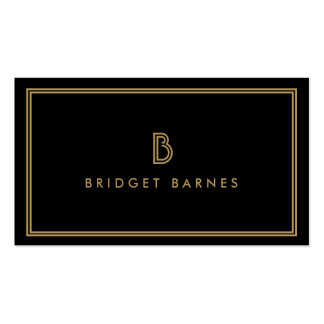 ART DECO MONOGRAM INITIAL LOGO in GOLD and BLACK Double-Sided Standard Business Cards (Pack Of 100)
