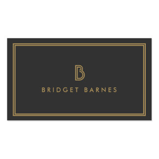 ART DECO MONOGRAM INITIAL LOGO in GOLD and GRAY Business Card Templates