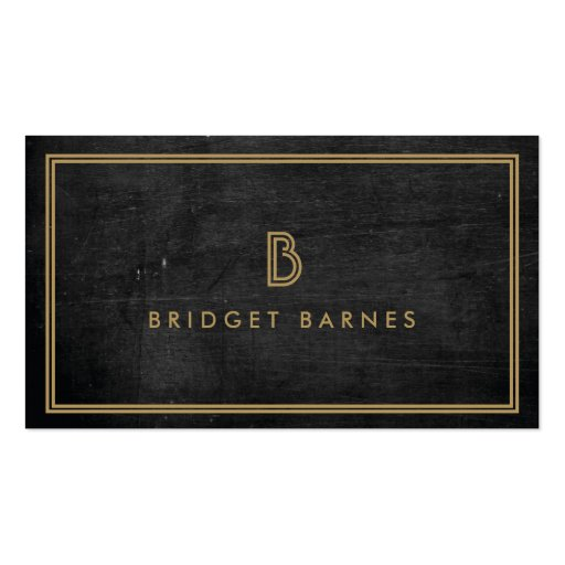 ART DECO MONOGRAM INITIAL LOGO in GOLD on DK WOOD Business Card Template