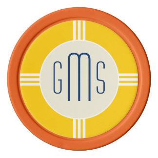 Art Deco Monogram Initials Personalized Poker Chip Poker Chip Set