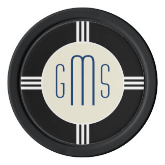 Art Deco Monogram Initials Personalized Poker Chip Set Of Poker Chips