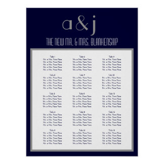 Art Deco Monogram Wedding 150 Guest Seating Chart