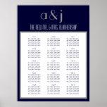 Art Deco Monogram Wedding 150 Guest Seating Chart Poster