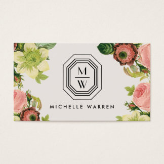Art Deco Monogram with Vintage Florals on Tan Business Card