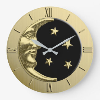Art Deco Moon and Stars - Black and Gold Large Clock