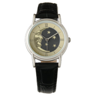 Art Deco Moon and Stars - Black and Gold Wristwatch