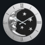 "Art Deco Moon and Stars - Black and Silver Large Clock<br><div class=""desc"">Classic Art Deco moon and stars design clock in brushed metallic silver,  with a black onyx / black enamel look background</div>"