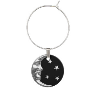 Art Deco Moon and Stars - Black and Silver Wine Glass Charm