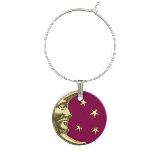 Art Deco Moon and Stars - Burgundy and Gold Wine Charm