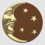 Art Deco Moon and Stars - Chocolate Brown & Gold Classic Round Sticker