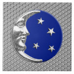 Art Deco Moon and stars - Cobalt Blue and Silver Tile