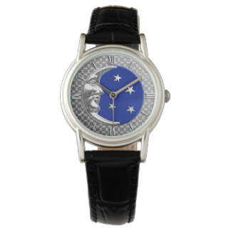 Art Deco Moon and stars - Cobalt Blue and Silver Wristwatches