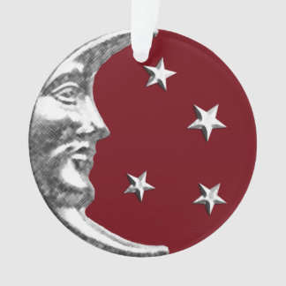 Art Deco Moon and Stars - Dark Red and Silver