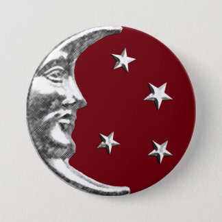 Art Deco Moon and Stars - Dark Red and Silver Button