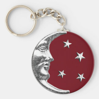 Art Deco Moon and Stars - Dark Red and Silver Keychain