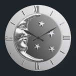 """Art Deco Moon and Stars - Grey / Gray and Silver Large Clock<br><div class=""""desc"""">Classic Art Deco moon and stars design clock in brushed silver,  with a hematite stone / grey enamel look background</div>"""