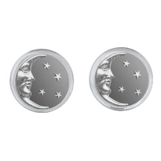 Art Deco Moon and Stars - Grey / Gray and Silver Silver Cufflinks