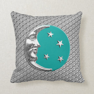 Art Deco Moon and stars - Turquoise & Silver Throw Pillow